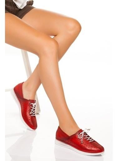 Derithy Derithy-Hakiki Deri Casual Ayakkabı-Kırmızı Kırmızı